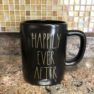 "RAE DUNN ""Happily Ever After"" Black Gold 16oz Mug"
